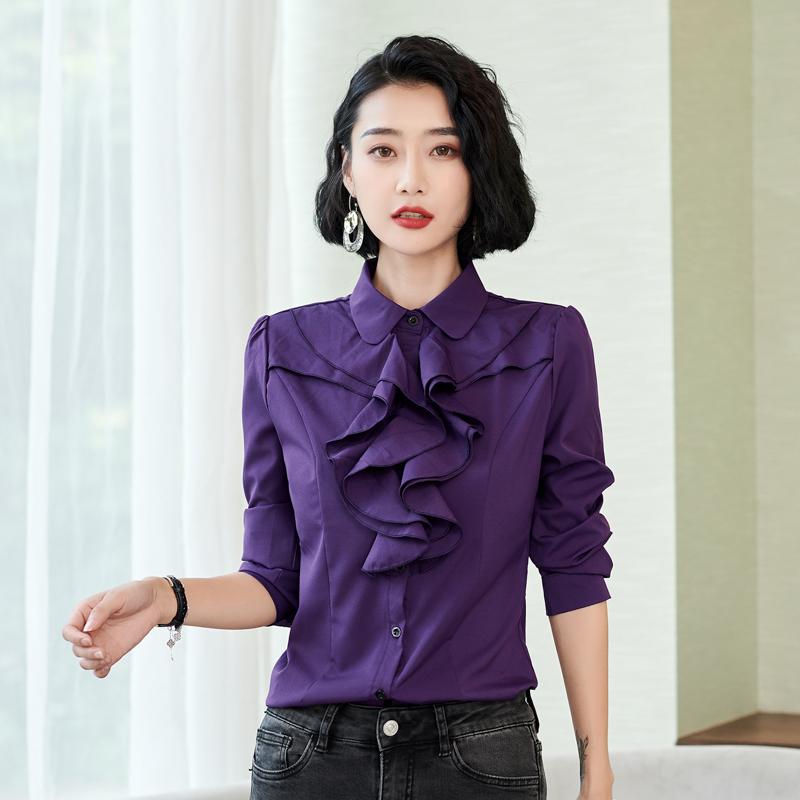 紫色衬衫 2018新款秋冬装休闲女衬衫长袖韩版职业装白领工装米白色修身紫色_推荐淘宝好看的紫色衬衫