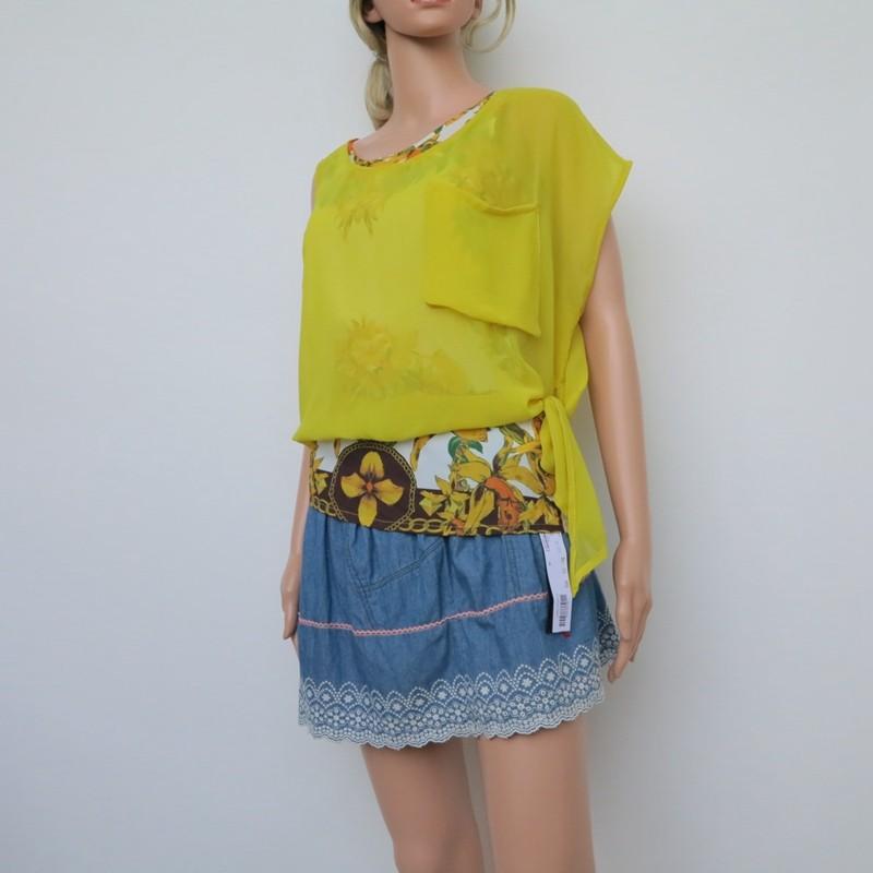 黄色雪纺衫 艾格淘特SML专柜正品断码 女夏黄色两件连体雪纺短袖衬衫4E4174_推荐淘宝好看的黄色雪纺衫