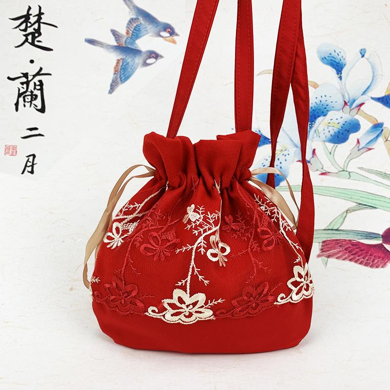 红色迷你包 原创配汉服包包女新款2020红色可爱仙女迷你单肩斜挎水桶包小古风_推荐淘宝好看的红色迷你包