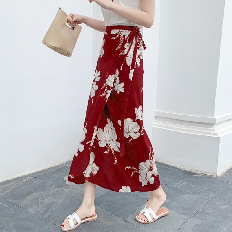 黄色半身裙 波西米亚沙滩裙女夏季裹裙2020新款系带度假围裙一片式绑带半身裙_推荐淘宝好看的黄色半身裙