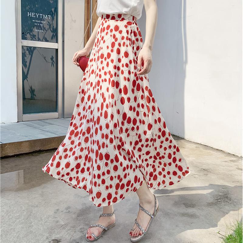 红色半身裙 碎花裙夏半身长裙女2020气质波点裙高腰大摆裙宽松A字雪纺半身裙_推荐淘宝好看的红色半身裙