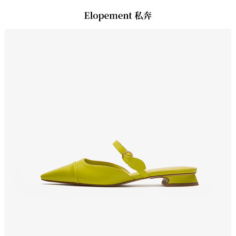 绿色凉鞋 穆勒鞋女尖头气质百搭外穿网红粗跟中跟2020春夏小CK绿色半拖凉鞋_推荐淘宝好看的绿色凉鞋
