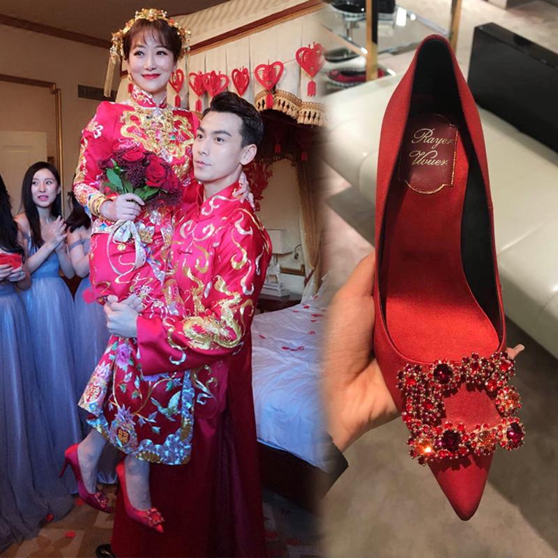 红色高跟鞋 秀禾婚鞋女2021新款结婚鞋子细跟婚纱鞋两穿婚纱新娘鞋红色高跟鞋_推荐淘宝好看的红色高跟鞋