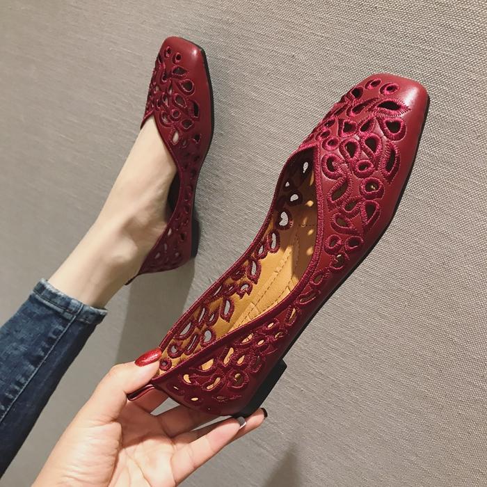 单鞋时尚平底鞋 时尚欧美风2020春夏季新款女鞋子大码浅口方头平跟平底单鞋黑红色_推荐淘宝好看的女单鞋时尚平底鞋