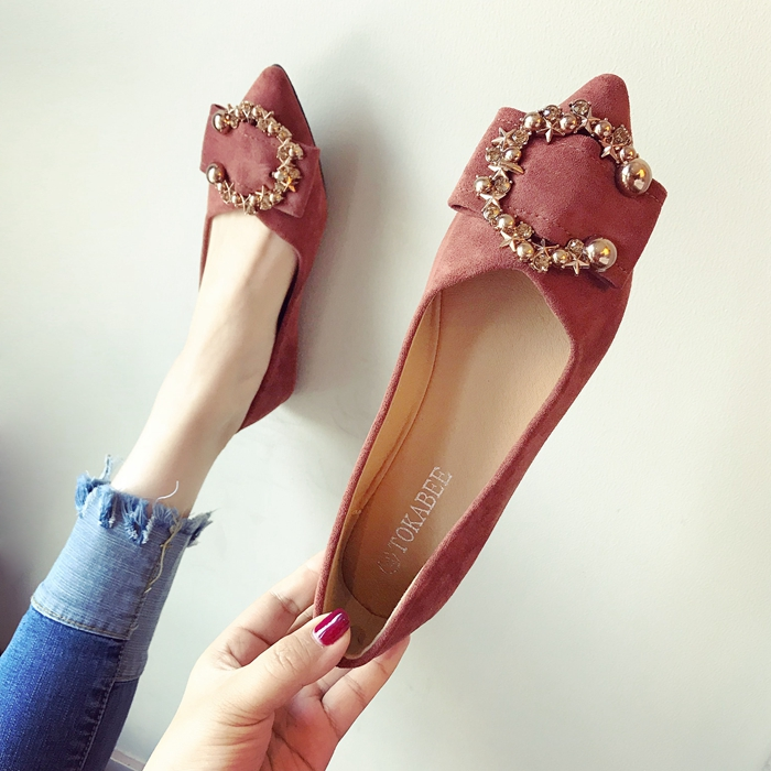 欧美款尖头鞋 欧美风时尚2021春夏季新款女鞋子大码金属扣浅口尖头平跟平底单鞋_推荐淘宝好看的欧美尖头鞋