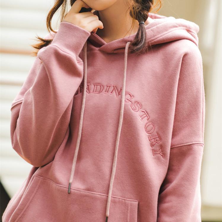 粉红色卫衣 茵曼棉质加绒加厚连帽卫衣女2020冬装新款绣花宽松粉红色外套清仓_推荐淘宝好看的粉红色卫衣