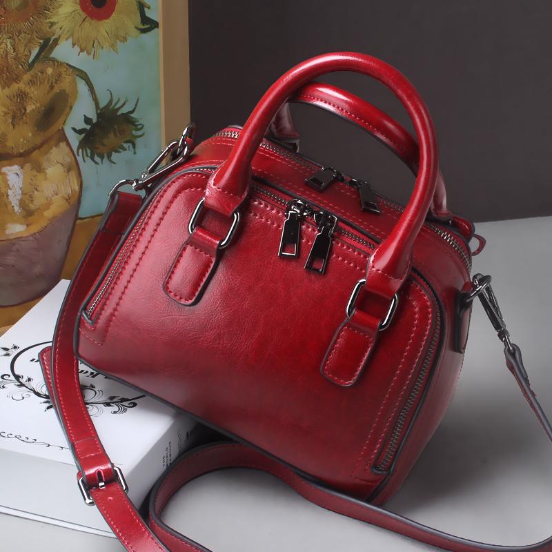 红色手提包 牛皮斜挎中包红色包包女2021新款结婚多层真皮女包手提包时尚软皮_推荐淘宝好看的红色手提包