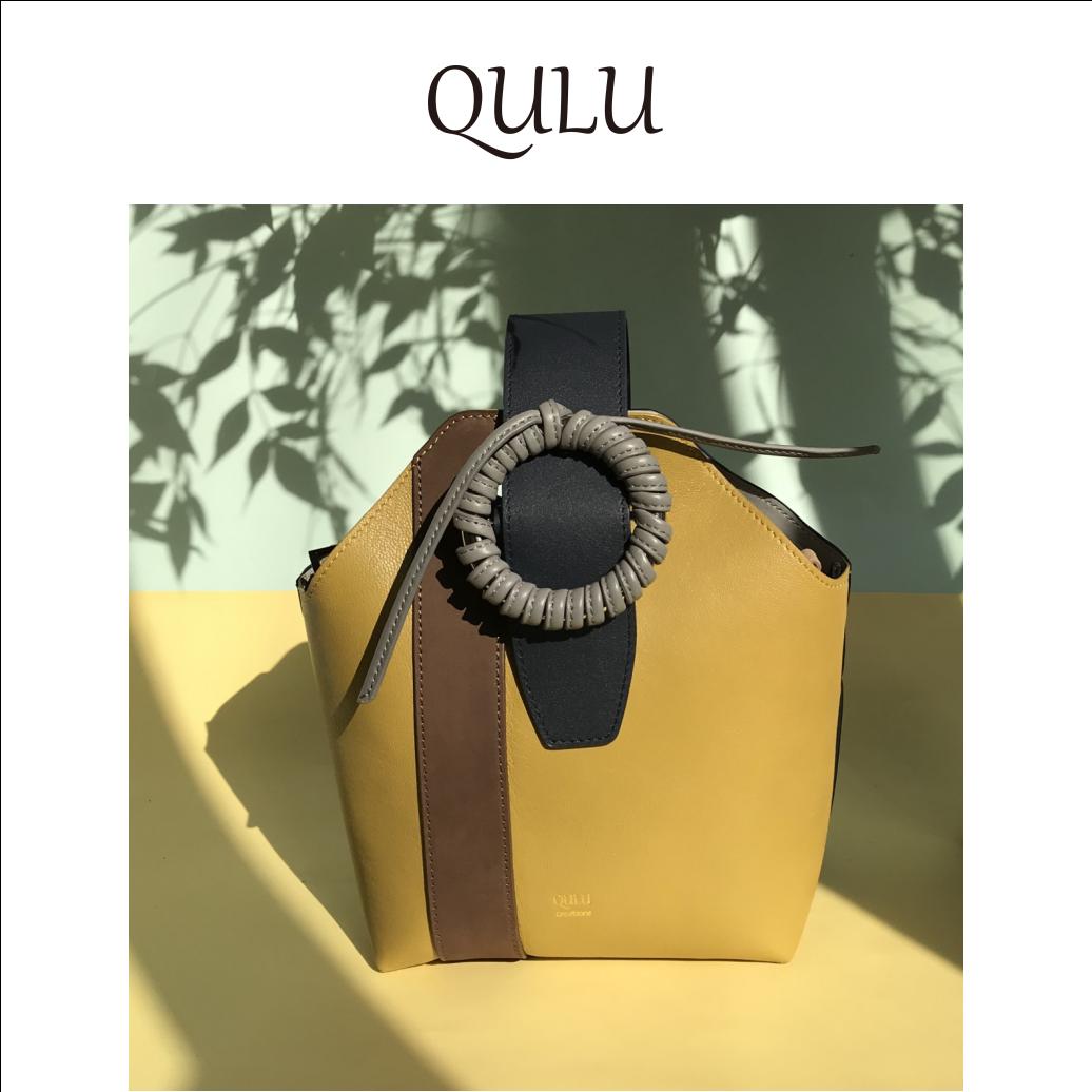 英伦复古包 QULU新款小众原创设计英伦复古黄色拼色水桶包手拎斜挎女包_推荐淘宝好看的女英伦复古包