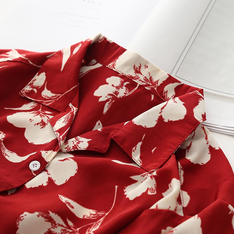 红色雪纺衫 PP家~港风复古印花红色衬衫女2019夏装短袖雪纺chic风上衣衬衣_推荐淘宝好看的红色雪纺衫