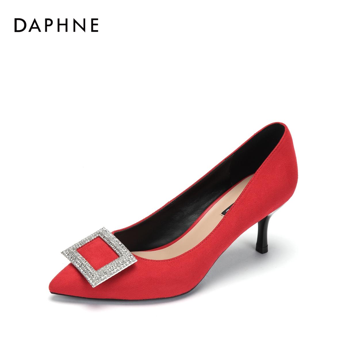 达芙妮单鞋 Daphne达芙妮新款尖头婚宴高跟鞋时尚方扣钻饰单鞋女1018404052_推荐淘宝好看的女达芙妮单鞋
