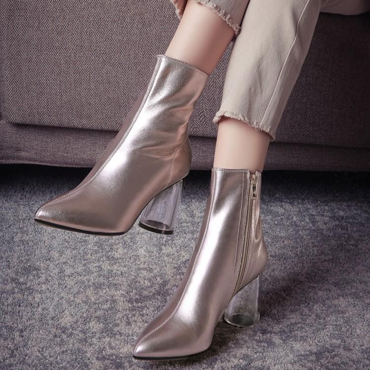 粗跟尖头鞋 秋冬女鞋金色靴子女银色尖头短筒粗跟高跟短靴牛皮真皮女靴 STMQ_推荐淘宝好看的粗跟尖头鞋
