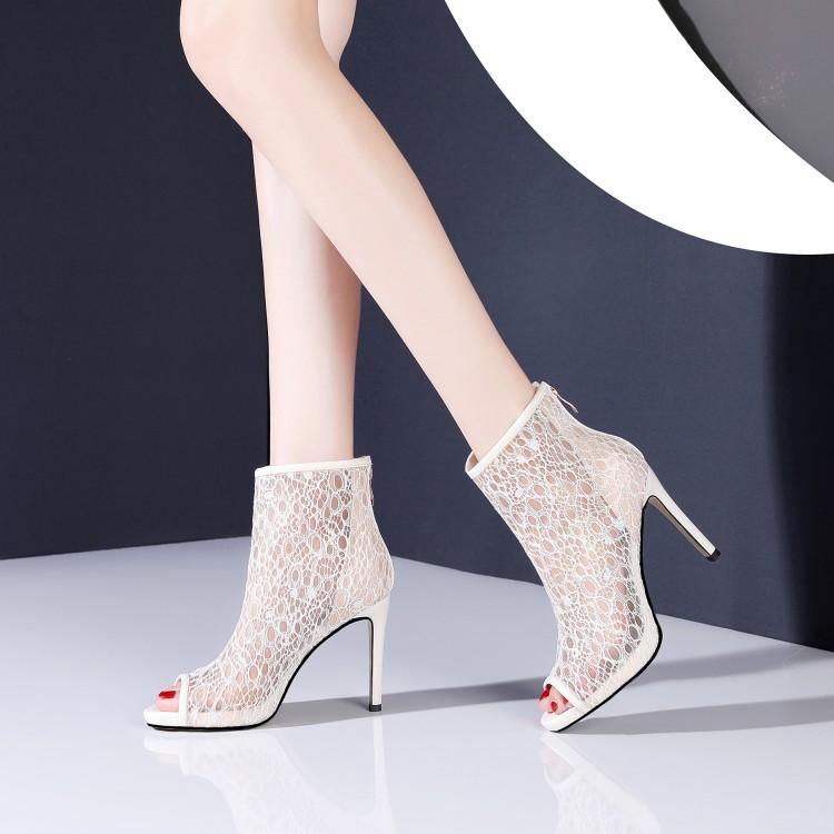 镂空鱼嘴鞋 夏季女鞋鱼嘴细跟高跟短靴凉靴子白色靴子镂空网纱网靴单靴 YSML_推荐淘宝好看的女镂空鱼嘴鞋