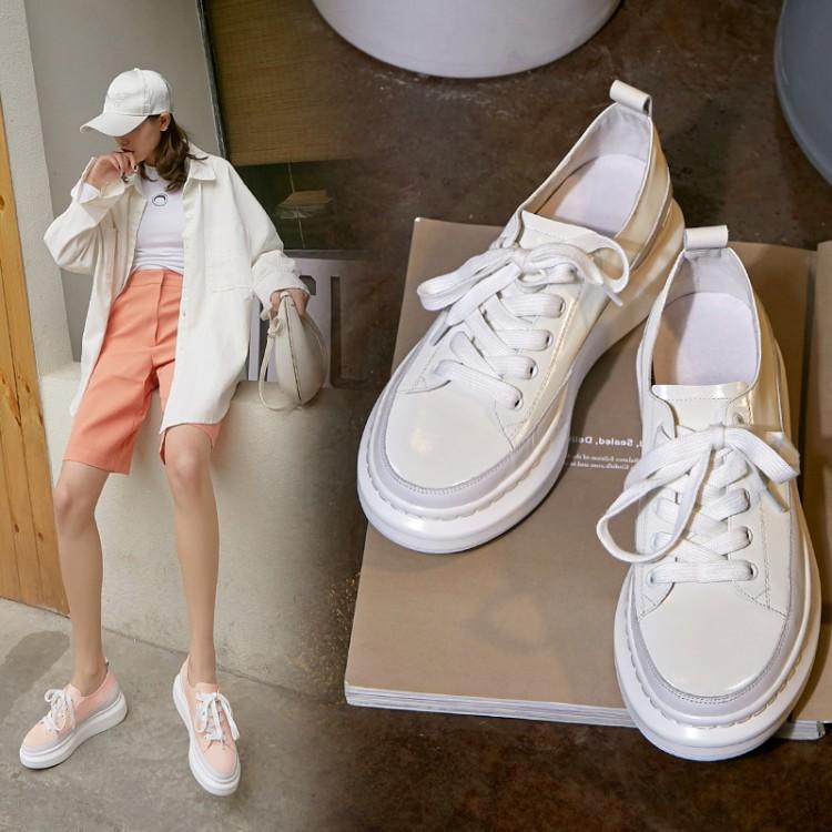 粉红色厚底鞋 系带休闲松糕厚底中跟单鞋乐福鞋粉红色绿色白色女鞋真皮鞋子 MSF_推荐淘宝好看的粉红色厚底鞋