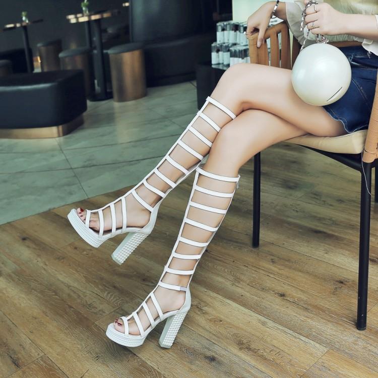 罗马女凉鞋 凉靴厚底夏季罗马鞋子粗跟防水台高跟白色女鞋高筒大码凉鞋女 GT_推荐淘宝好看的女罗马凉鞋