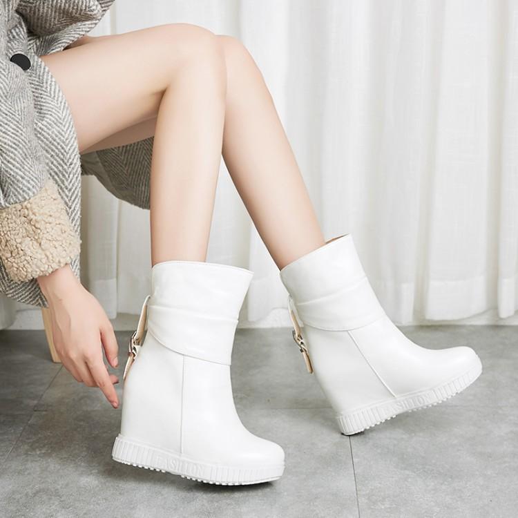 女性高跟鞋 秋冬女鞋白色靴子内增高高跟短靴女厚底短靴子大码女靴小码女 YYF_推荐淘宝好看的女高跟鞋