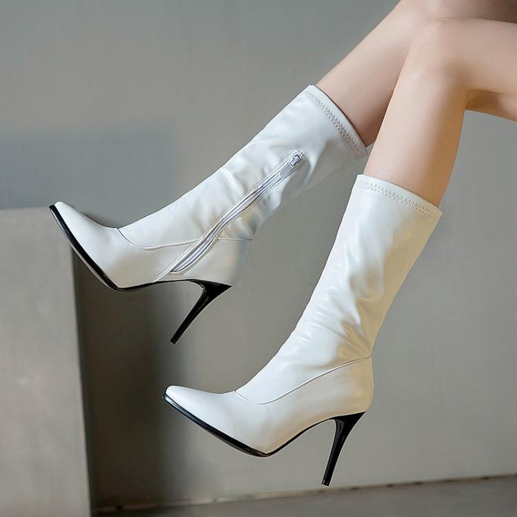 女性高跟鞋 白色靴子豹纹鞋子细跟高跟中筒靴尖头女鞋子大码女靴小码靴女 TXT_推荐淘宝好看的女高跟鞋