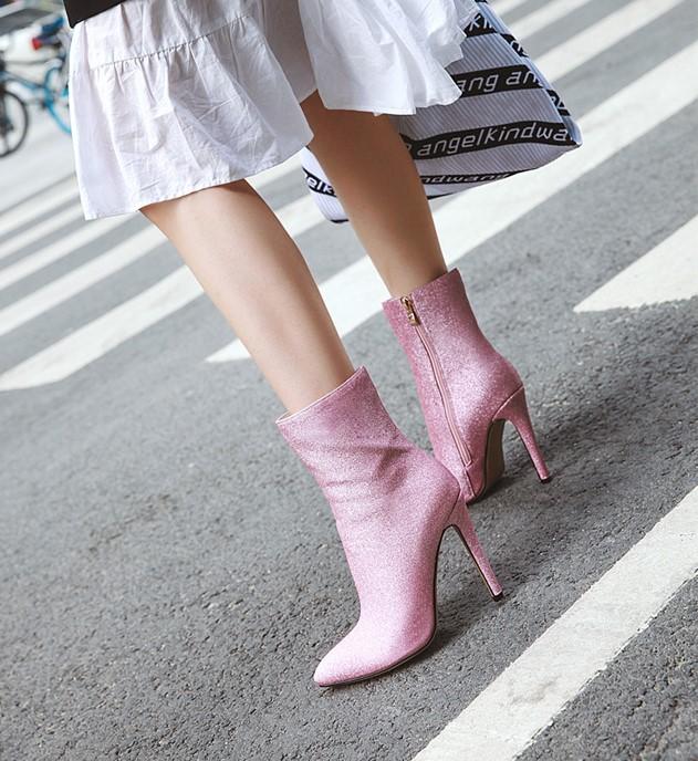 粉红色尖头鞋 闪亮金色银色粉红色细跟高跟短靴尖头女鞋大码靴子女小码女靴 WQL_推荐淘宝好看的粉红色尖头鞋