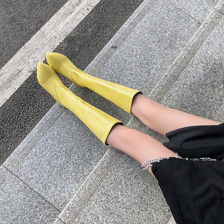 粉红色平底鞋 紫色米白色粉红色黄色靴子女低跟平底高筒尖头女鞋大码女靴  ASL_推荐淘宝好看的粉红色平底鞋