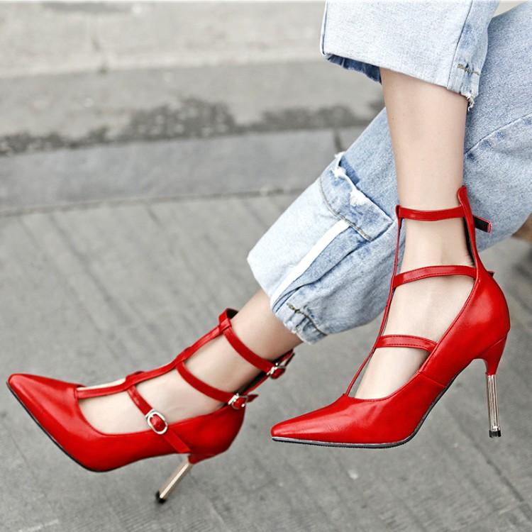 红色罗马鞋 罗马鞋春秋鞋女尖头女鞋红色婚鞋新娘细跟高跟单鞋小码大码鞋 CJL_推荐淘宝好看的红色罗马鞋