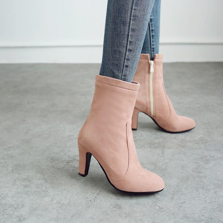 短靴 藕粉色酒红色靴子粗跟高跟短靴短筒弹力瘦靴大码女靴小码女鞋 BK_推荐淘宝好看的女短靴