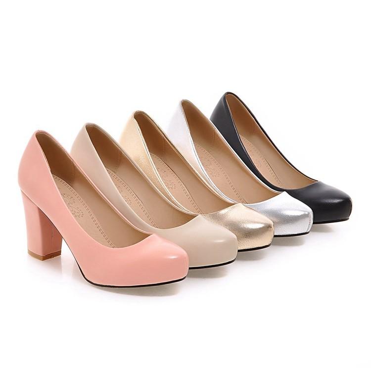 粉红色单鞋 春秋鞋女金色银色粉红色米色粗跟高跟单鞋小码女鞋大码 31-45 HLE_推荐淘宝好看的粉红色单鞋