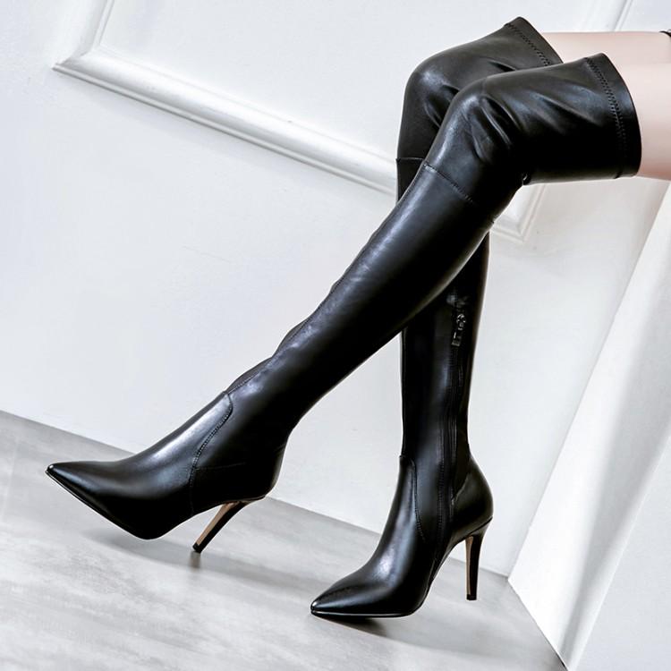 女性高跟鞋 大码女靴尖头鞋细跟高跟单靴过膝长靴弹力靴女瘦腿真皮靴子 ARLY_推荐淘宝好看的女高跟鞋