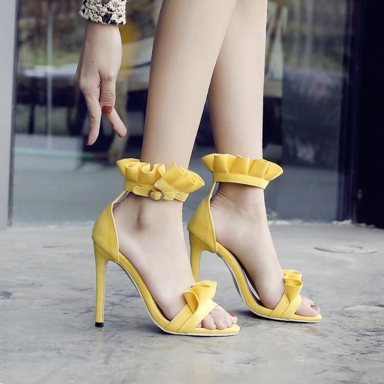 黄色凉鞋 鞋女夏季凉鞋黄色鞋橘色粉色女鞋细跟高跟凉鞋大码凉鞋 40-52 HH_推荐淘宝好看的黄色凉鞋