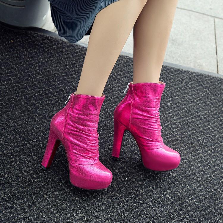 短靴 银色女桃红色靴子婚鞋防水台粗跟高跟短靴大码靴子小码女靴 TMLH_推荐淘宝好看的女短靴