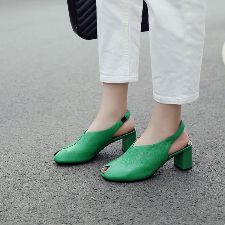 绿色鱼嘴鞋 新款夏季女绿色凉鞋淑女粗跟高跟凉鞋鱼嘴鞋软皮牛皮真皮凉鞋 YF_推荐淘宝好看的绿色鱼嘴鞋