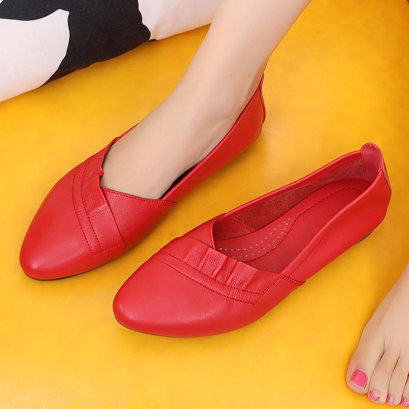 红色平底鞋 红色平底婚鞋软底孕妇鞋韩版百搭浅口真皮女鞋软底妈妈休闲鞋单鞋_推荐淘宝好看的红色平底鞋