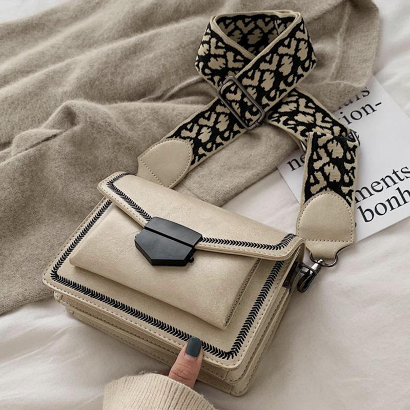 黑色信封包 包包女包2020春季新款方包时尚信封包休闲包宽肩带复古单肩斜挎包_推荐淘宝好看的黑色信封包