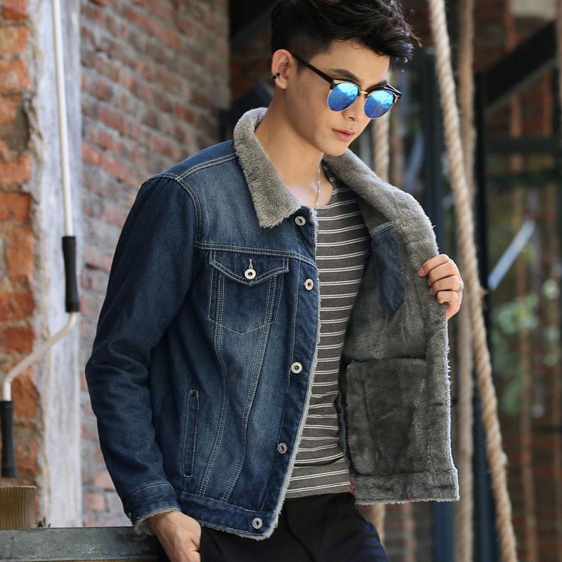 男士棉衣 秋冬季青少年男士牛仔外套男加绒加厚夹克上衣学生韩版修身棉衣褂_推荐淘宝好看的男士棉衣