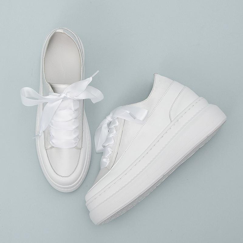 白色松糕鞋 2021夏新款内增高小白鞋女婚礼松糕女鞋厚底鞋白色真皮板鞋护士鞋_推荐淘宝好看的白色松糕鞋