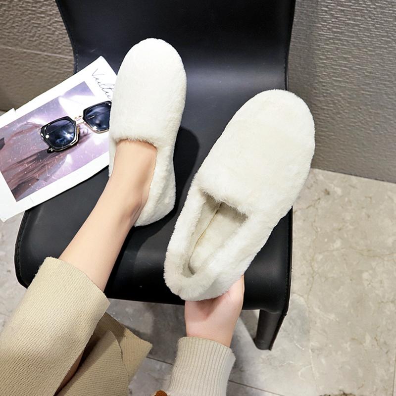 白色平底鞋 网红平底单鞋女懒人豆豆鞋加绒棉瓢鞋毛毛鞋白色2019秋冬新款外穿_推荐淘宝好看的白色平底鞋