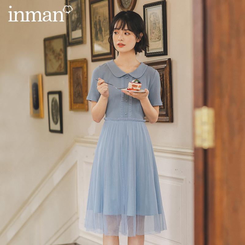 茵曼 淘宝 茵曼2020夏装新款短袖连衣裙翻领可爱拼接纱裙甜美裙子女_推荐淘宝好看的茵曼