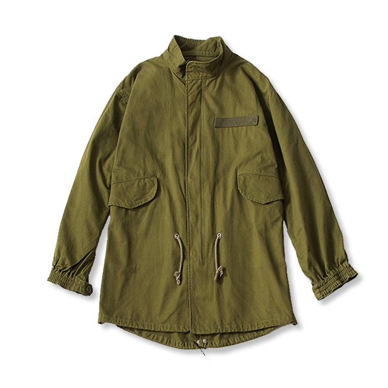 男士立领风衣 男士风衣工装军事风宽松M51长款军绿外套_推荐淘宝好看的男立领风衣