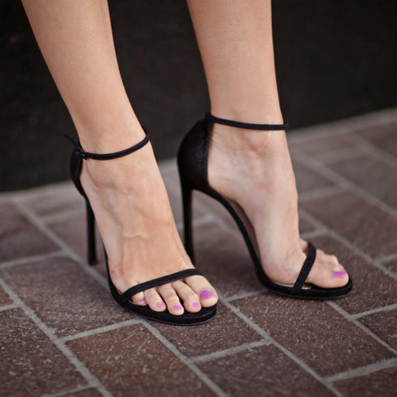 黑色凉鞋 凉鞋2021新款女细跟一字带高跟凉鞋女法式防水台夏季黑色细带凉鞋_推荐淘宝好看的黑色凉鞋