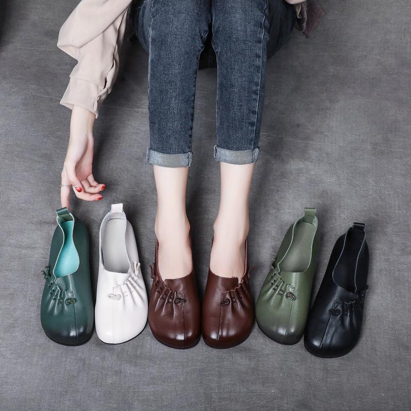 鞋子 真皮手工森女鞋子女2021春新款鞋文艺圆头软底软面鞋复古奶奶鞋女_推荐淘宝好看的女鞋子