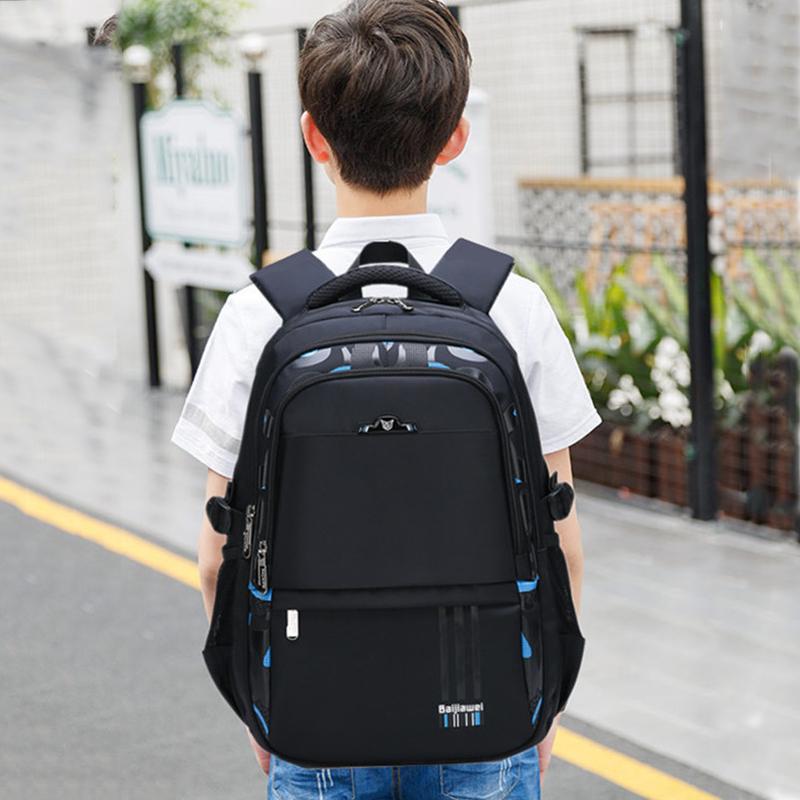 黑色双肩包 男孩书包10-15岁 小学生六年级男生男大童初中生黑色耐脏潮双肩包_推荐淘宝好看的黑色双肩包
