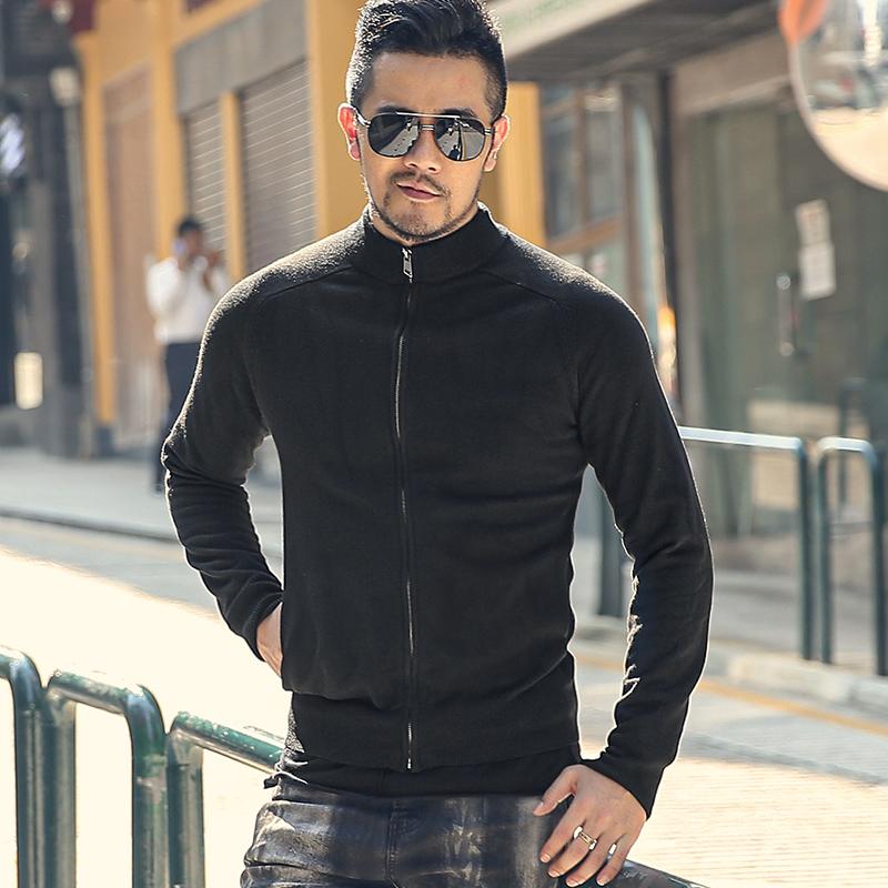男士修身针织衫 秋装新款 黑色 立领 男装拉链开衫毛衣 型男弹力修身针织衫J799_推荐淘宝好看的男修身针织衫