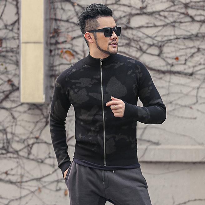 男士针织衫外套 2020秋冬新款加厚 男装立领拉链针织衫 男士开衫毛衣外套J799-2_推荐淘宝好看的男针织衫外套