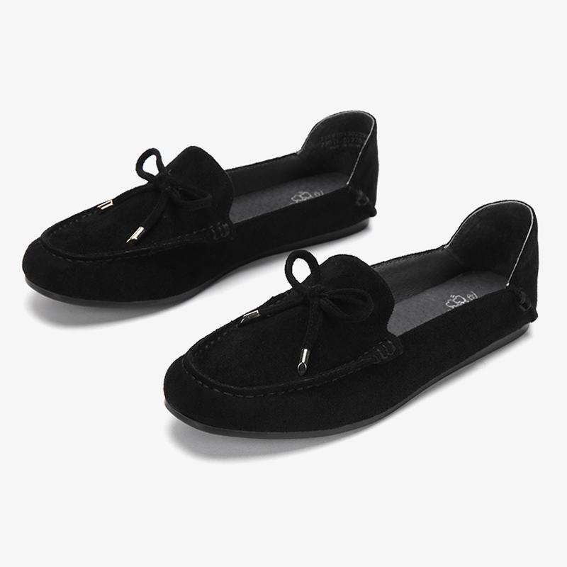 达芙妮豆豆鞋 Daphne达芙妮旗下鞋柜系列蝴蝶结绒面可踩跟平底后包豆豆鞋单鞋_推荐淘宝好看的达芙妮豆豆鞋