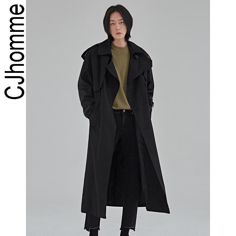 男士风衣外套 CJHOMME 新款秋季韩版黑色简约宽松肩章男士休闲风衣2021流行外套_推荐淘宝好看的男风衣外套