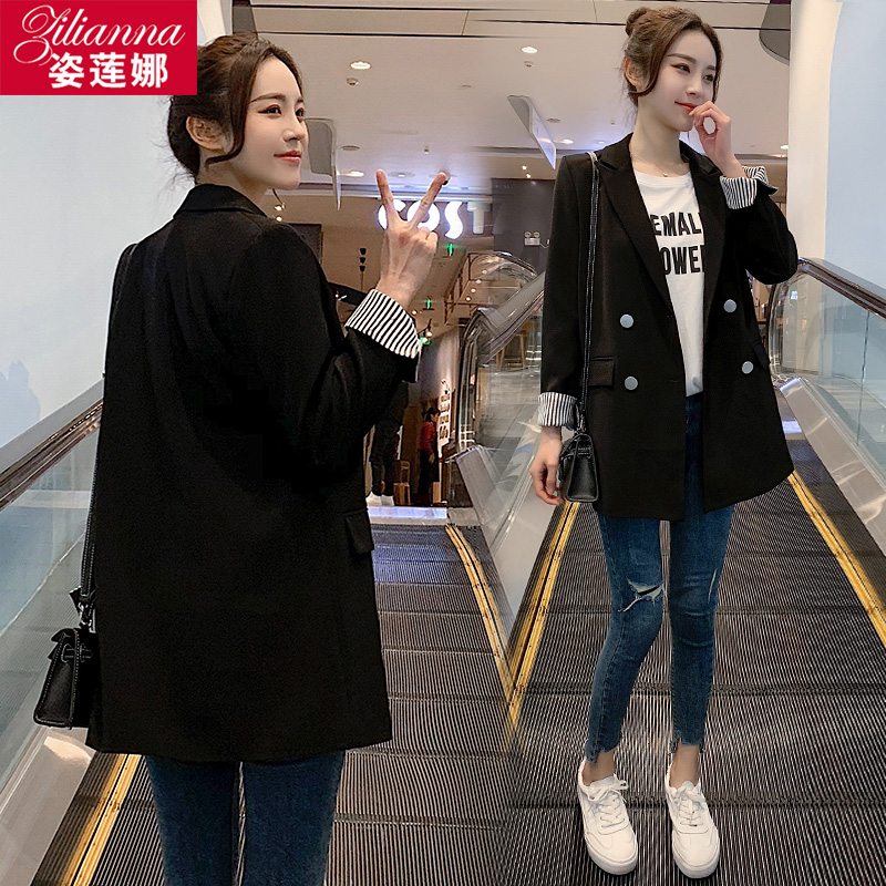 黑色小西装 网红黑色小个子小西装外套女2020春秋新款韩版休闲炸街西服女上衣_推荐淘宝好看的黑色小西装