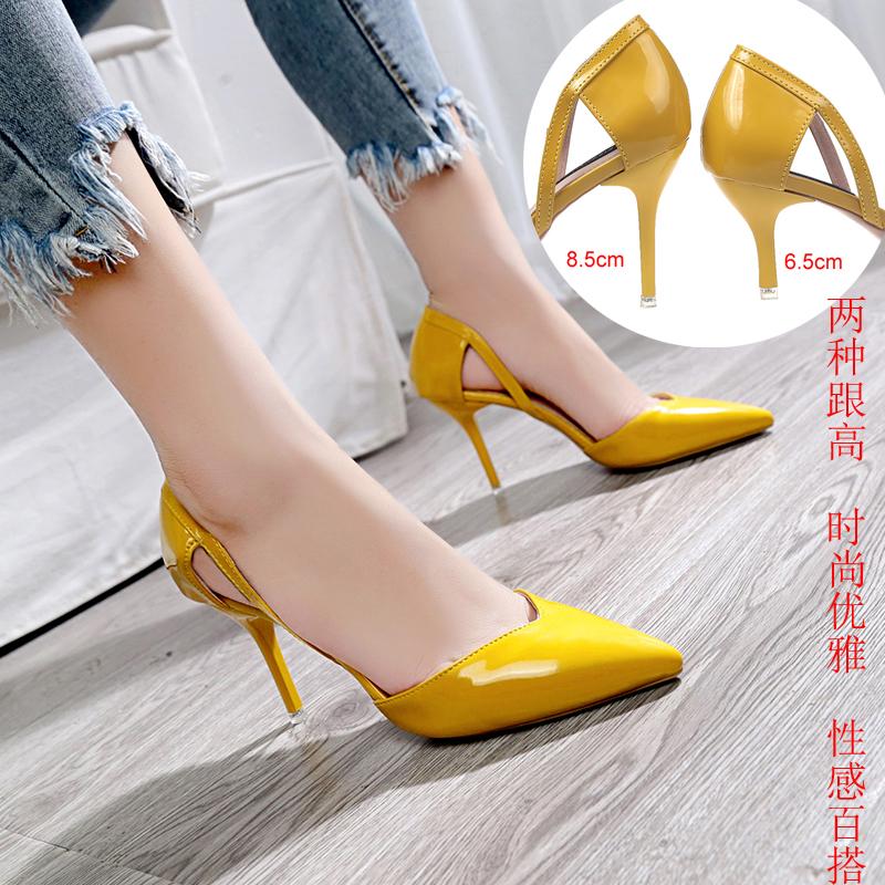 黄色凉鞋 裸色高跟鞋2019黄色细跟公主单鞋夏季甜美少女中空尖头性感凉鞋34_推荐淘宝好看的黄色凉鞋