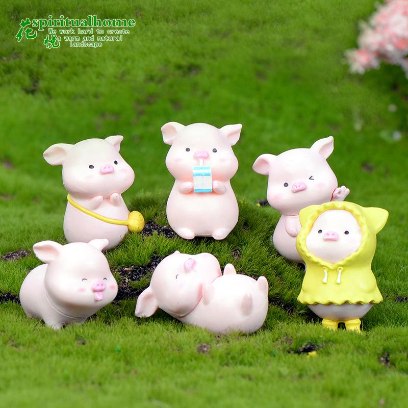 黄色迷你包 迷你小猪蛋糕摆件黄色雨衣小猪背书包塑料小动物摆件盆景摆件_推荐淘宝好看的黄色迷你包