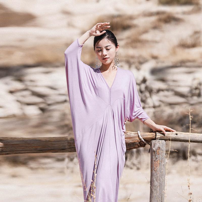 紫色连衣裙 2019原创夏很仙小众女神范连衣裙大码遮肚显瘦莫代尔减龄紫色长裙_推荐淘宝好看的紫色连衣裙
