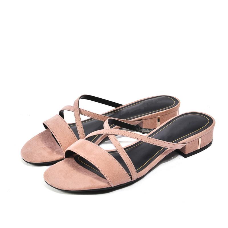 粉红色凉鞋 2018欧美夏季休闲低跟凉鞋粉红色小CK一字交叉带舒适平底穆勒凉拖_推荐淘宝好看的粉红色凉鞋