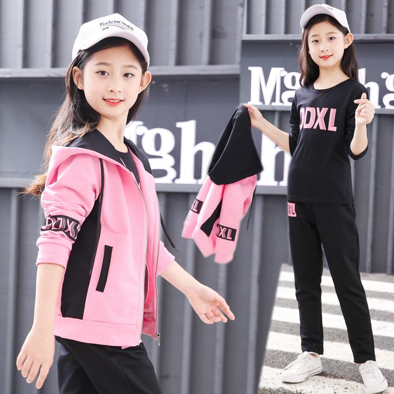 韩版卫衣三件套 女童网红套装新款学生韩版运动服三件套儿童卫衣大童AB拉链衫潮_推荐淘宝好看的女韩版卫衣三件套