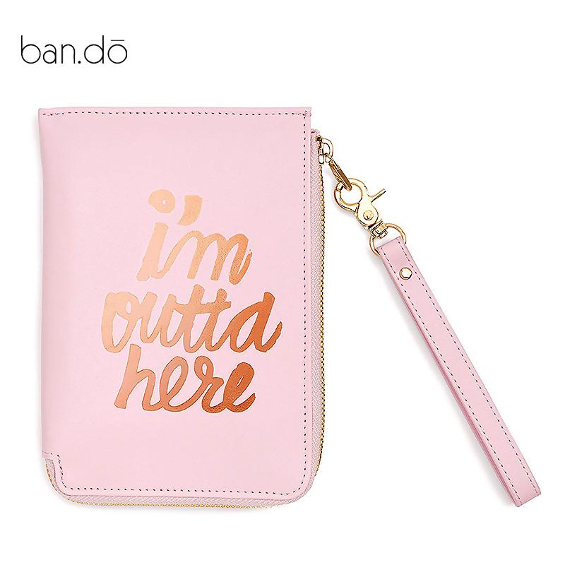 粉红色手拿包 ban.do 女士 Getaway 旅行手包 手拿包 粉红色女士手拿包 L型拉链包_推荐淘宝好看的粉红色手拿包